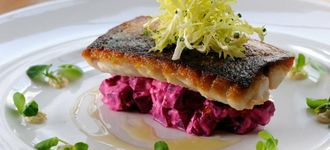 Pan fried Sea Bream with Beetroot Jelly, Fennel Salad and Great Ness Orange Zest Rapeseed Oil Vinaigrette